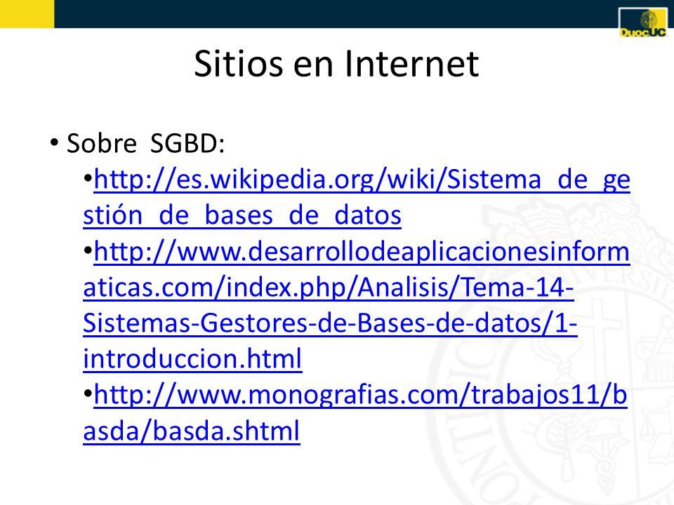 Sitios en Internet Sobre SGBD: