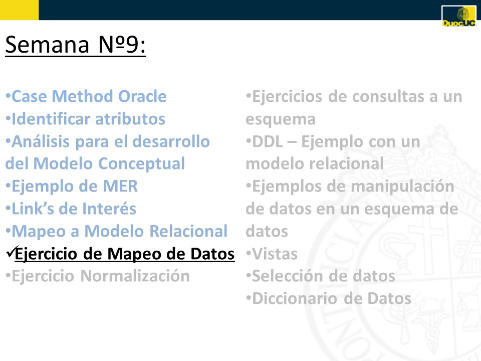 Semana Nº9: Case Method Oracle Identificar atributos