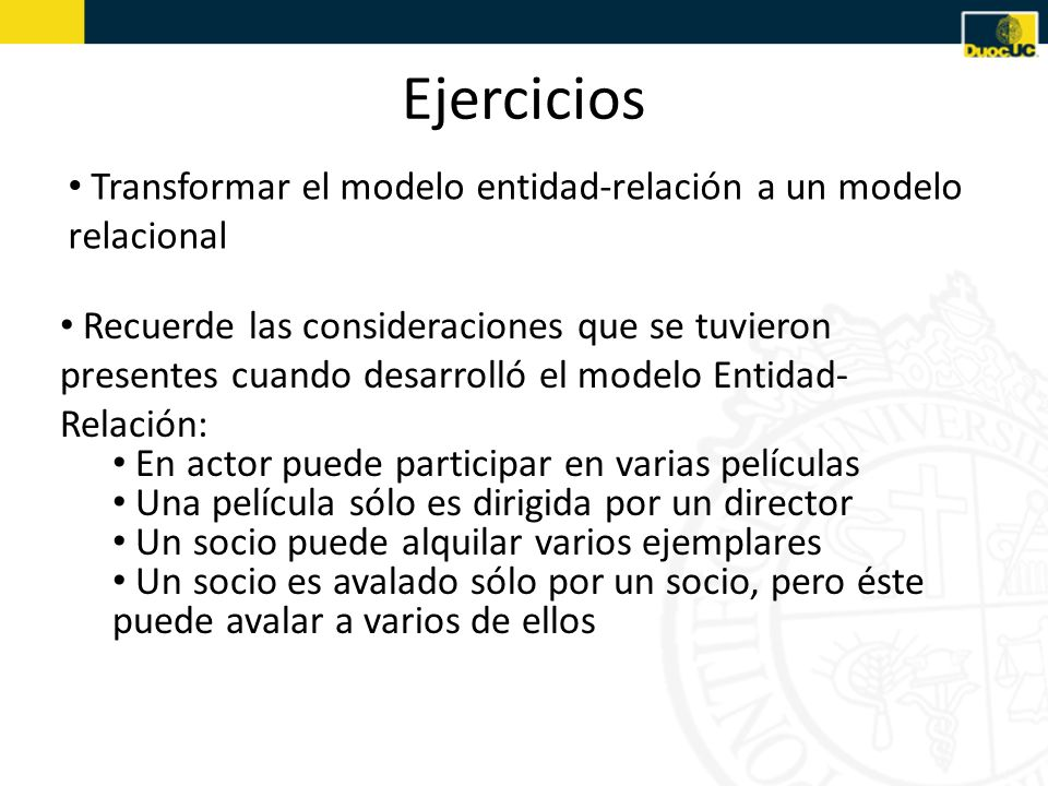 Ejercicios Transformar el modelo entidad-relación a un modelo relacional.