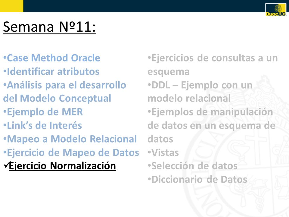 Semana Nº11: Case Method Oracle Identificar atributos