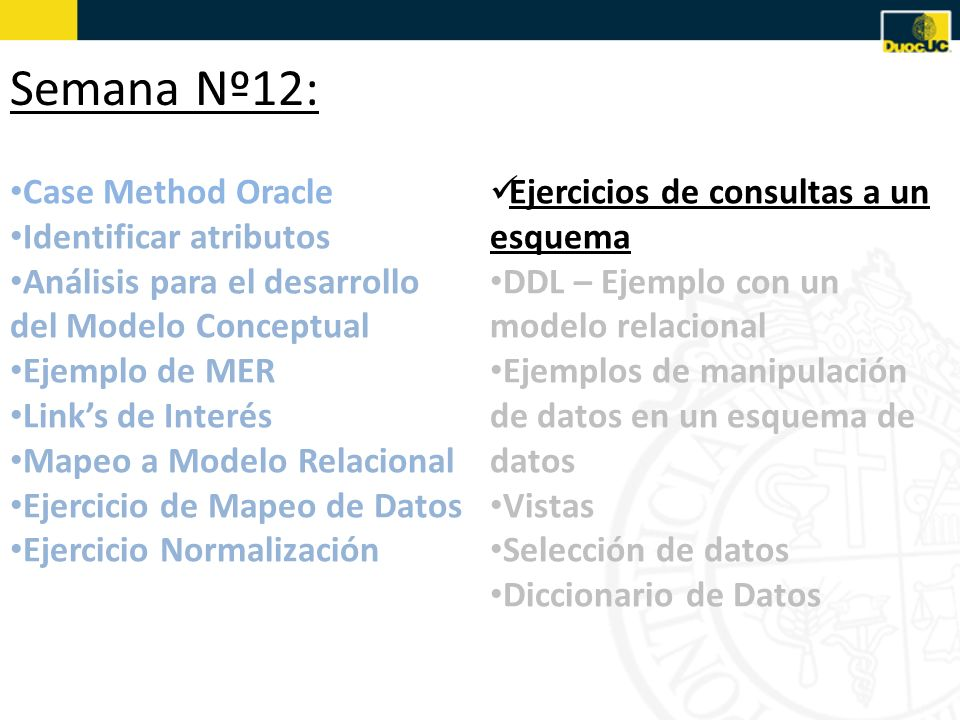 Semana Nº12: Case Method Oracle Identificar atributos