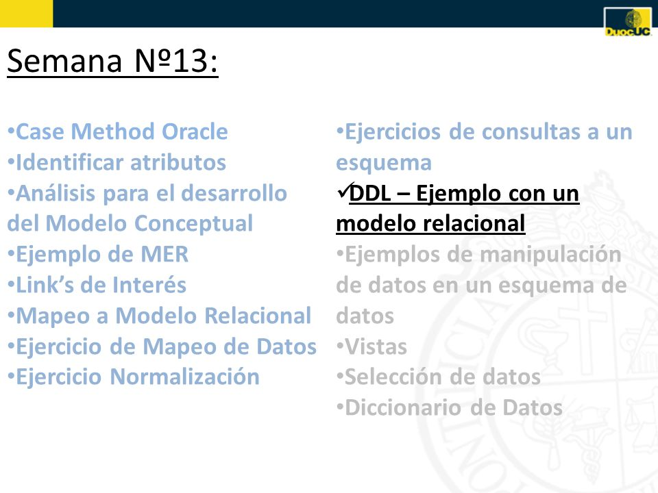 Semana Nº13: Case Method Oracle Identificar atributos