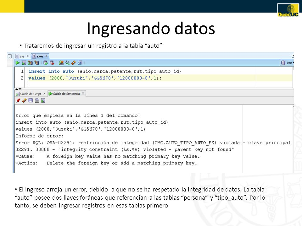 Ingresando datos Trataremos de ingresar un registro a la tabla auto