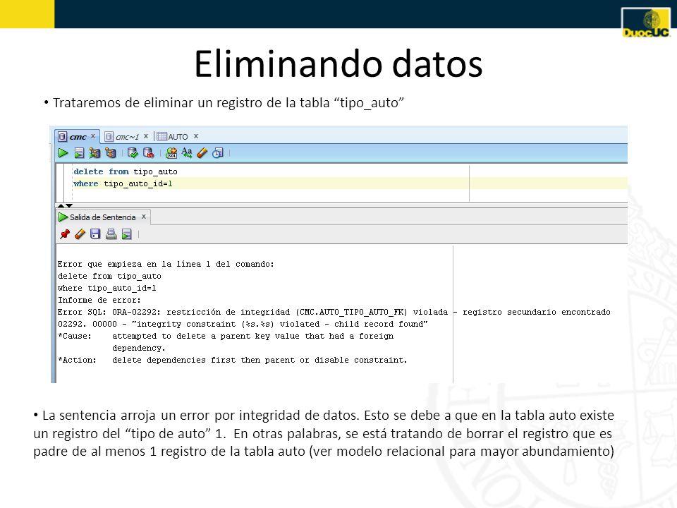 Eliminando datosTrataremos de eliminar un registro de la tabla tipo_auto