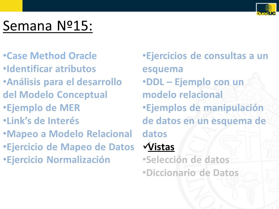 Semana Nº15: Case Method Oracle Identificar atributos