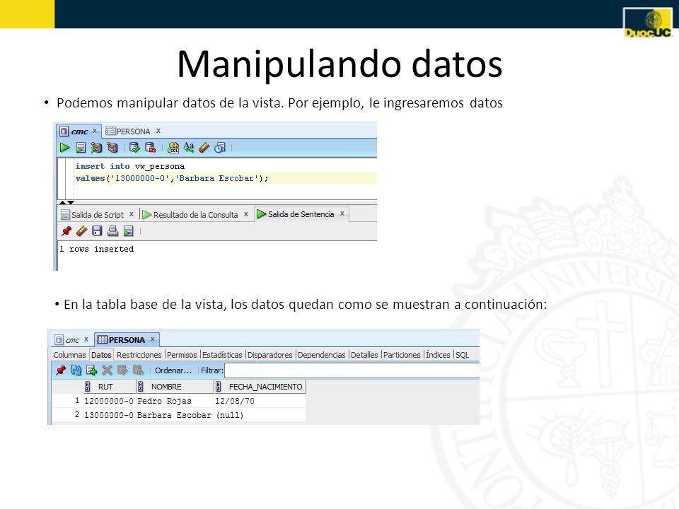 Manipulando datos Podemos manipular datos de la vista. Por ejemplo, le ingresaremos datos.