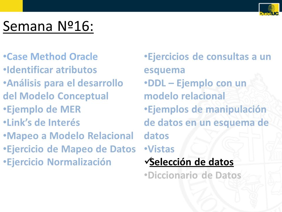 Semana Nº16: Case Method Oracle Identificar atributos
