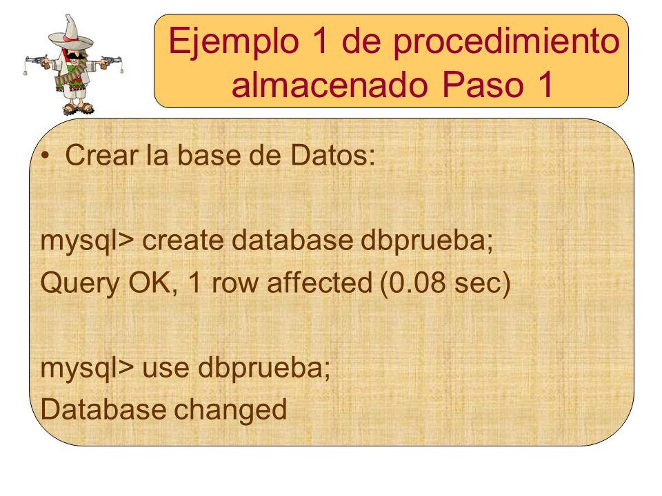 Ejemplo 1 de procedimiento almacenado Paso 1