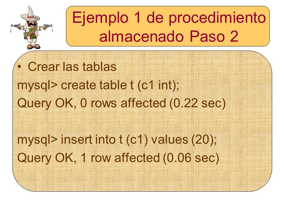 Ejemplo 1 de procedimiento almacenado Paso 2