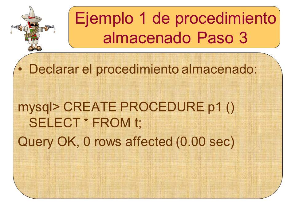 Ejemplo 1 de procedimiento almacenado Paso 3