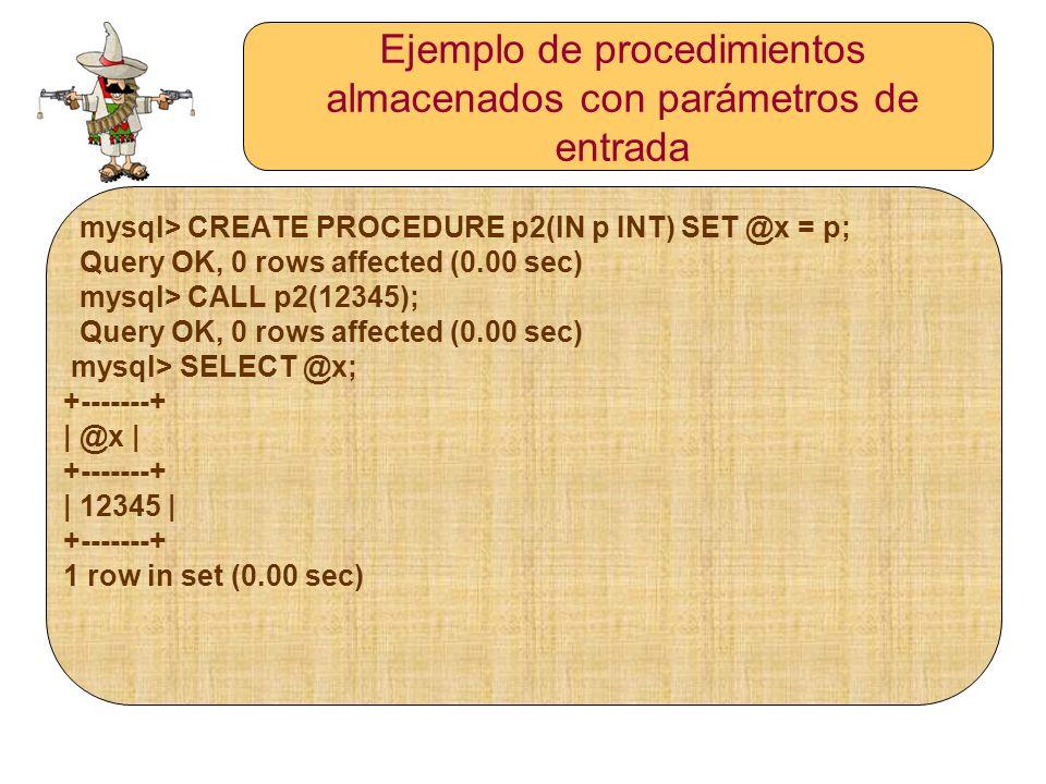 Ejemplo de procedimientos almacenados con parámetros de entrada