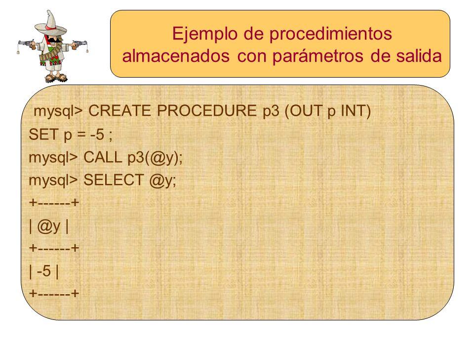 Ejemplo de procedimientos almacenados con parámetros de salida