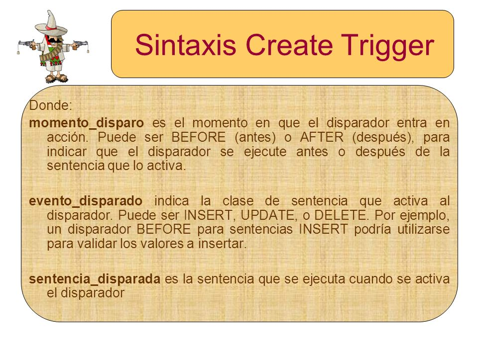 Sintaxis Create Trigger