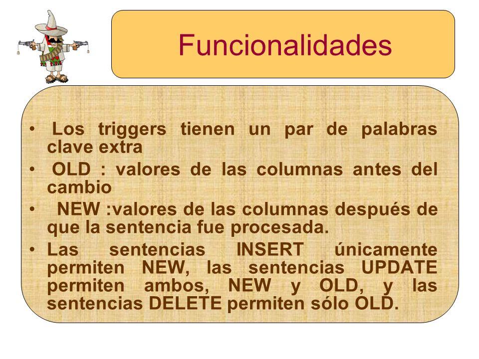 Funcionalidades Los triggers tienen un par de palabras clave extra