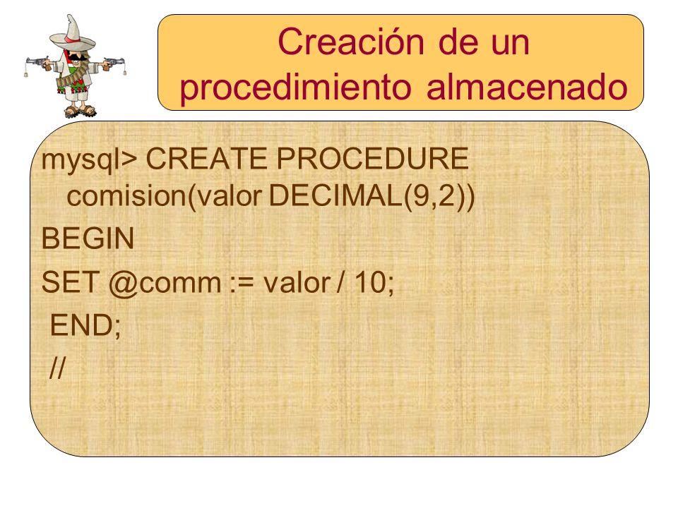 Creación de un procedimiento almacenado