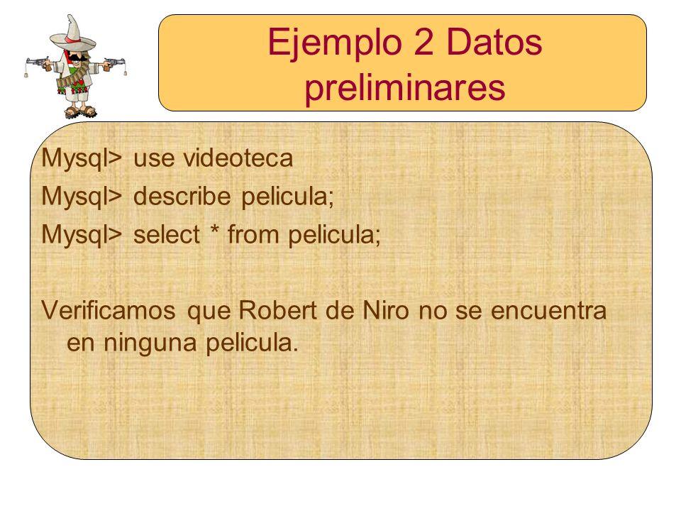 Ejemplo 2 Datos preliminares
