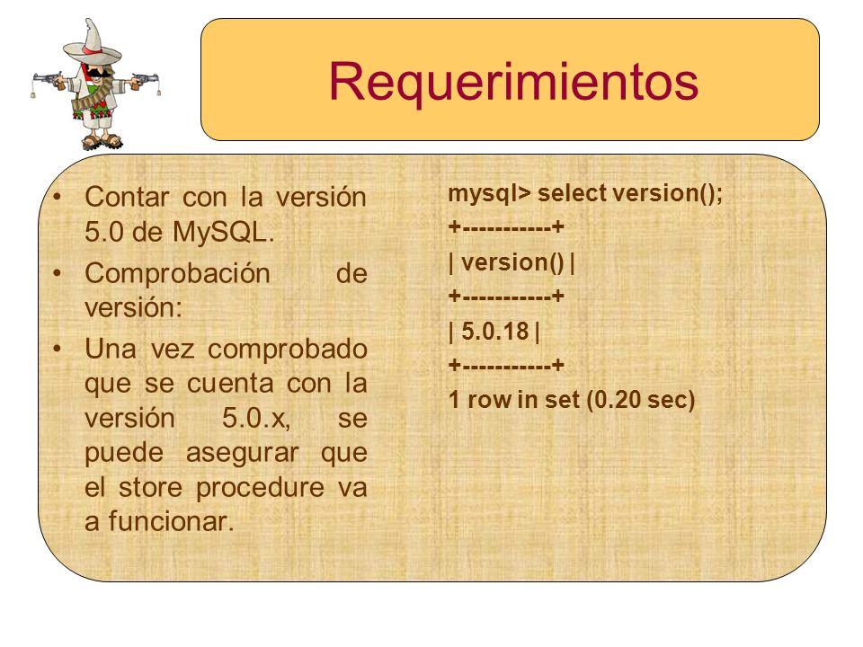 Requerimientos Contar con la versión 5.0 de MySQL.