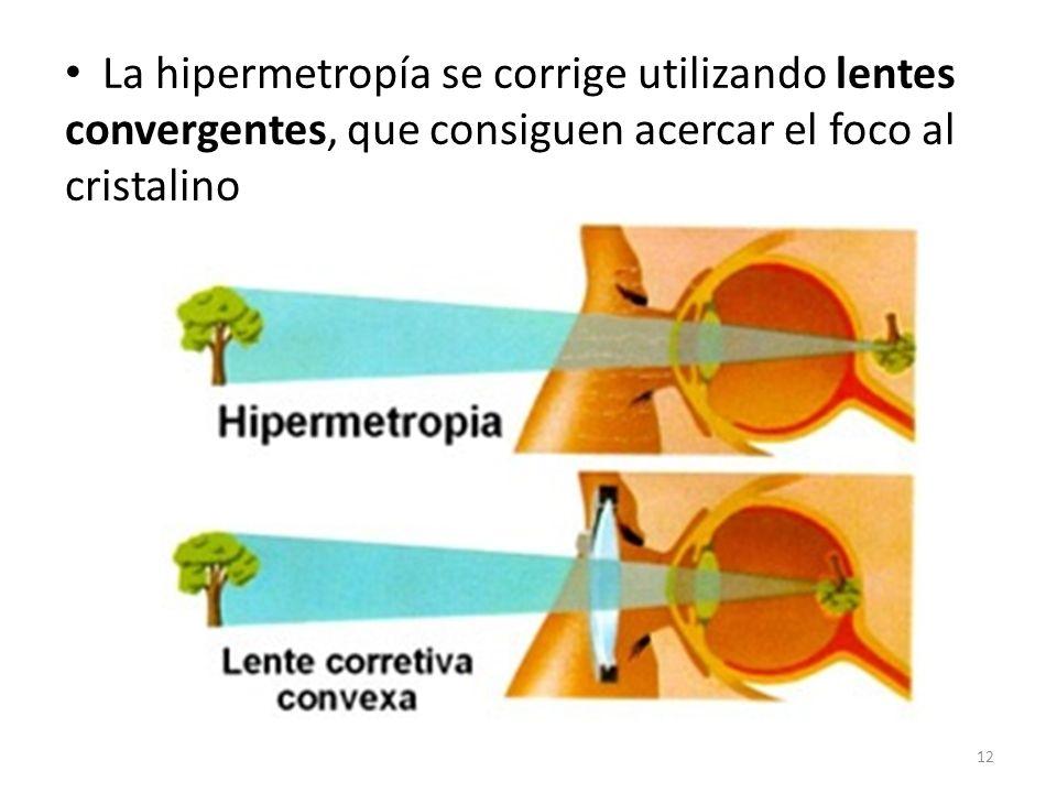 La hipermetropía se corrige utilizando lentes convergentes, que consiguen acercar el foco al cristalino