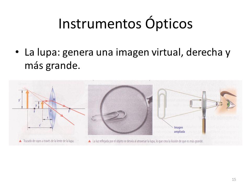 Instrumentos Ópticos La lupa: genera una imagen virtual, derecha y más grande.