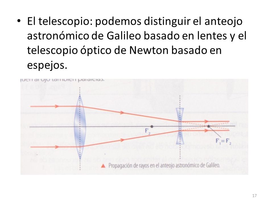 El telescopio: podemos distinguir el anteojo astronómico de Galileo basado en lentes y el telescopio óptico de Newton basado en espejos.