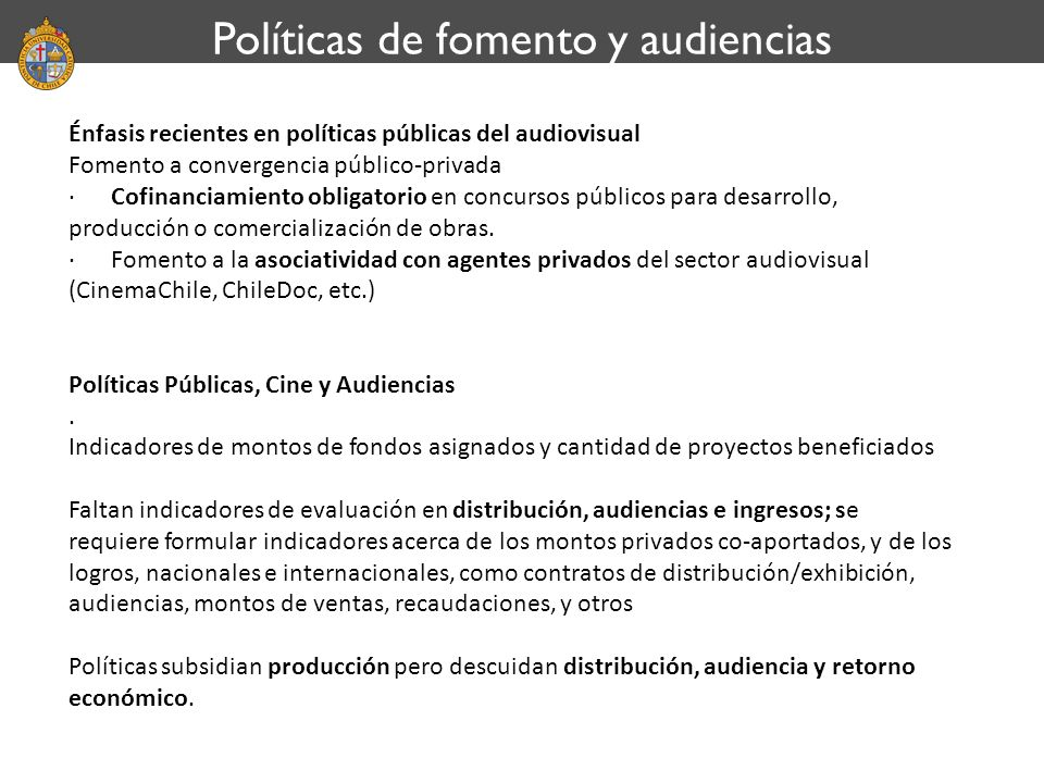 Políticas de fomento y audiencias
