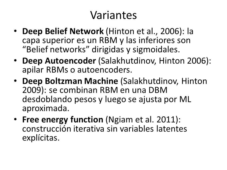 Variantes Deep Belief Network (Hinton et al., 2006): la capa superior es un RBM y las inferiores son Belief networks dirigidas y sigmoidales.