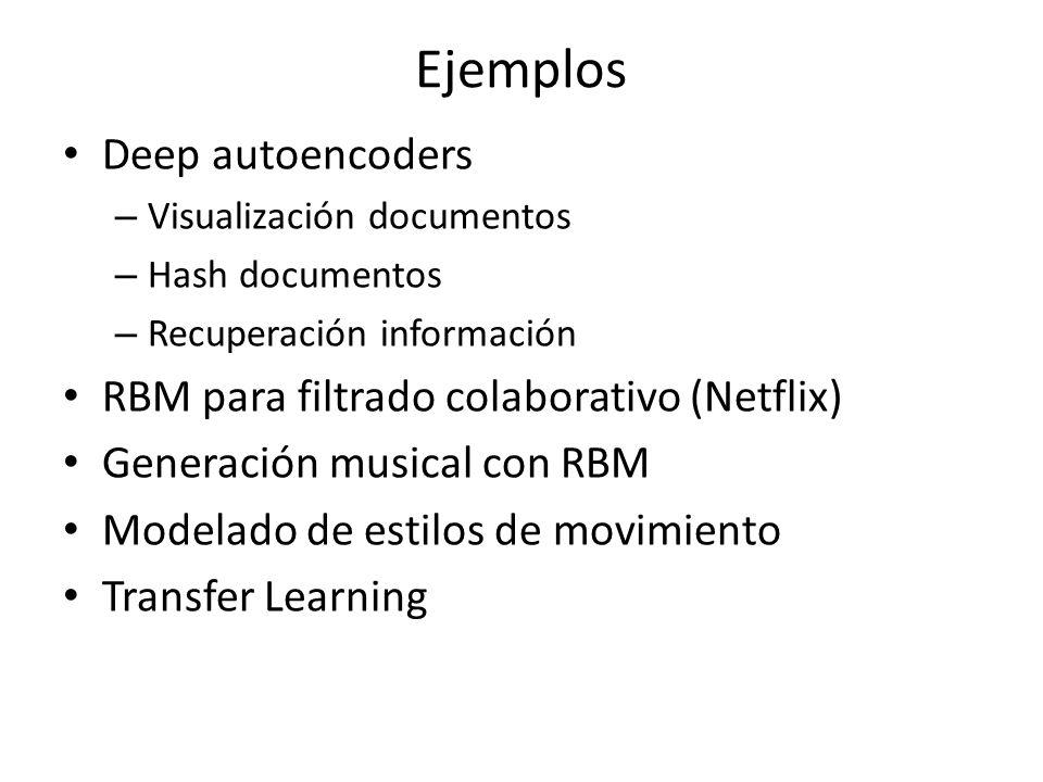 Ejemplos Deep autoencoders RBM para filtrado colaborativo (Netflix)