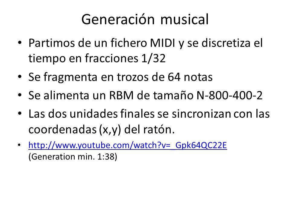 Generación musical Partimos de un fichero MIDI y se discretiza el tiempo en fracciones 1/32. Se fragmenta en trozos de 64 notas.