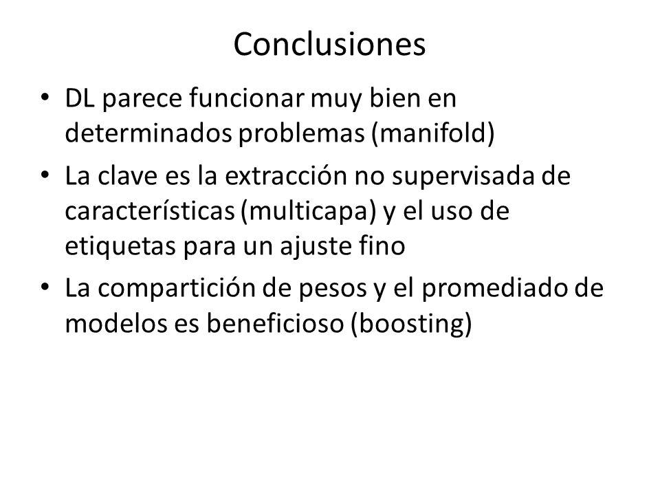 Conclusiones DL parece funcionar muy bien en determinados problemas (manifold)
