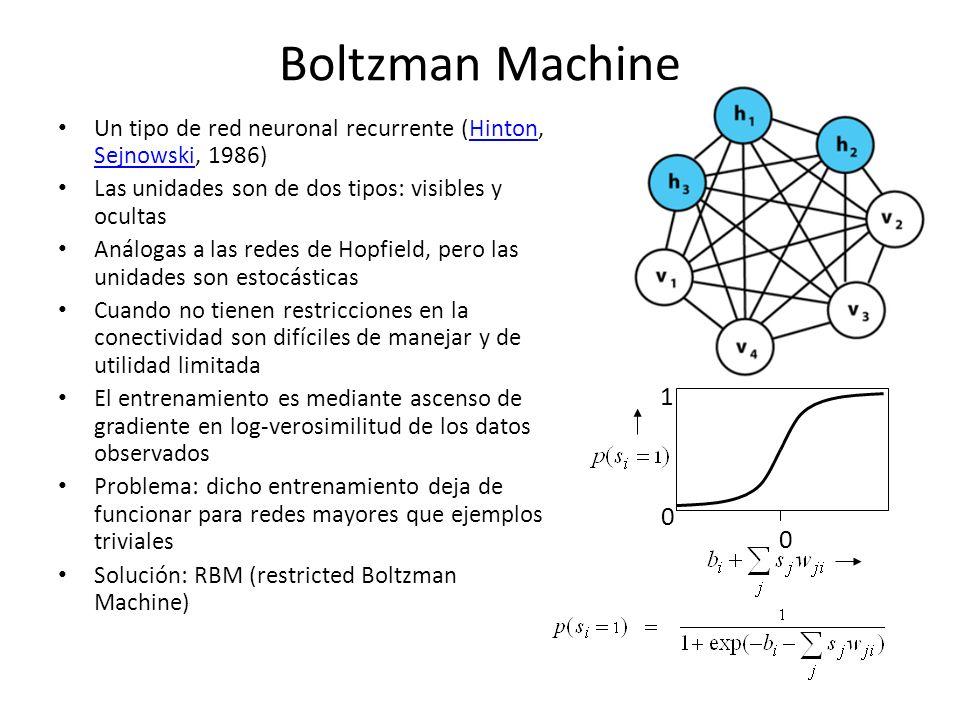 Boltzman Machine Un tipo de red neuronal recurrente (Hinton, Sejnowski, 1986) Las unidades son de dos tipos: visibles y ocultas.