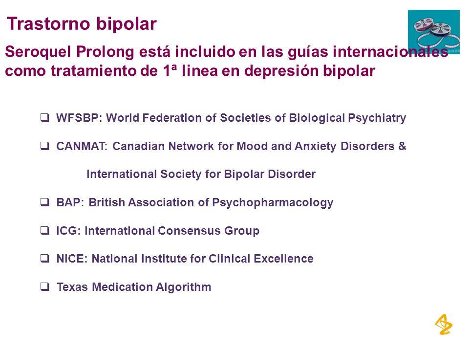 Trastorno bipolar Seroquel Prolong está incluido en las guías internacionales como tratamiento de 1ª linea en depresión bipolar.