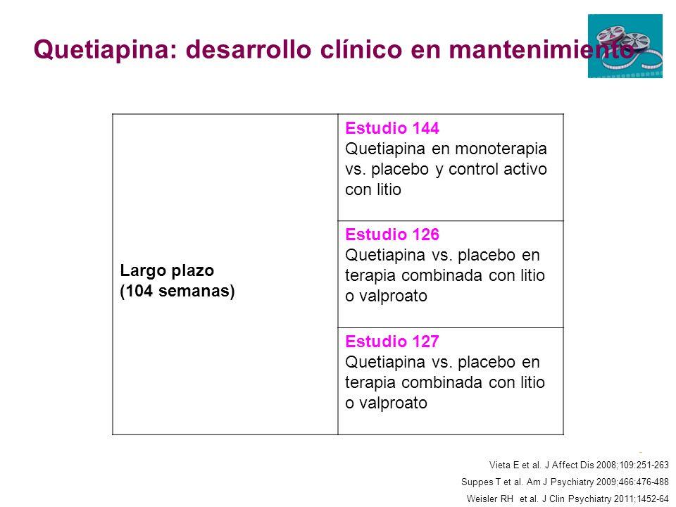 Quetiapina: desarrollo clínico en mantenimiento