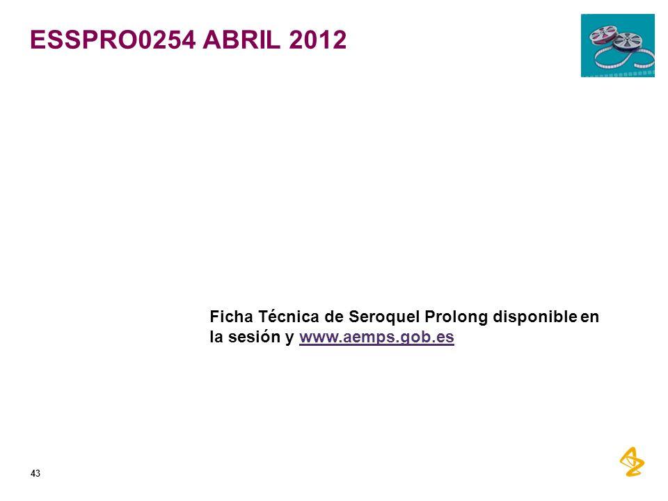 ESSPRO0254 ABRIL 2012 Ficha Técnica de Seroquel Prolong disponible en la sesión y www.aemps.gob.es