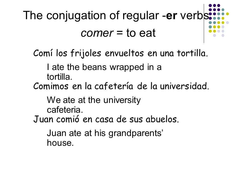 The conjugation of regular -er verbs