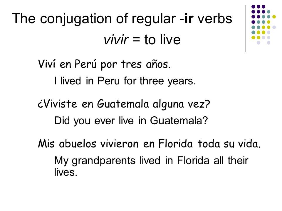 The conjugation of regular -ir verbs