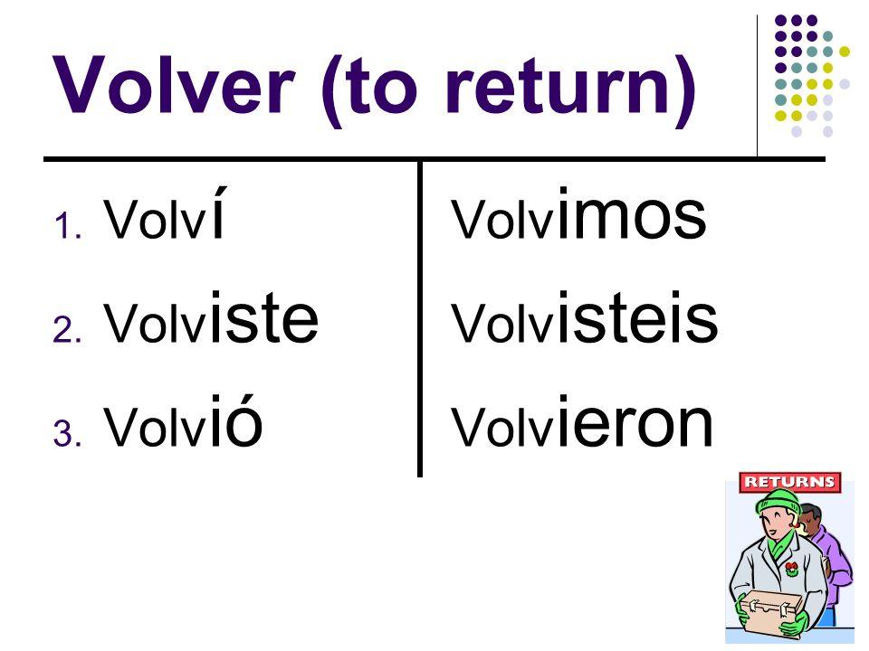 Volver (to return) Volví Volviste Volvió Volvimos Volvisteis Volvieron