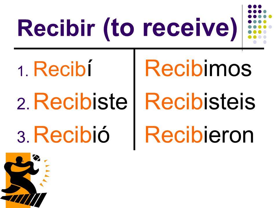 Recibir (to receive) Recibiste Recibió Recibimos Recibisteis