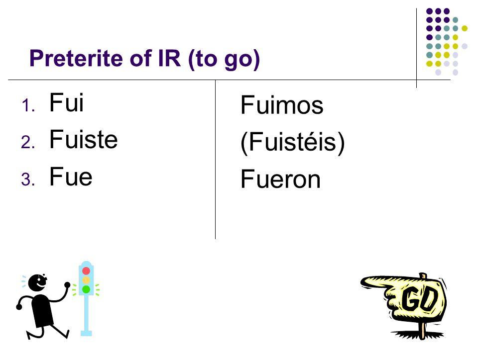 Preterite of IR (to go) Fui Fuiste Fue Fuimos (Fuistéis) Fueron