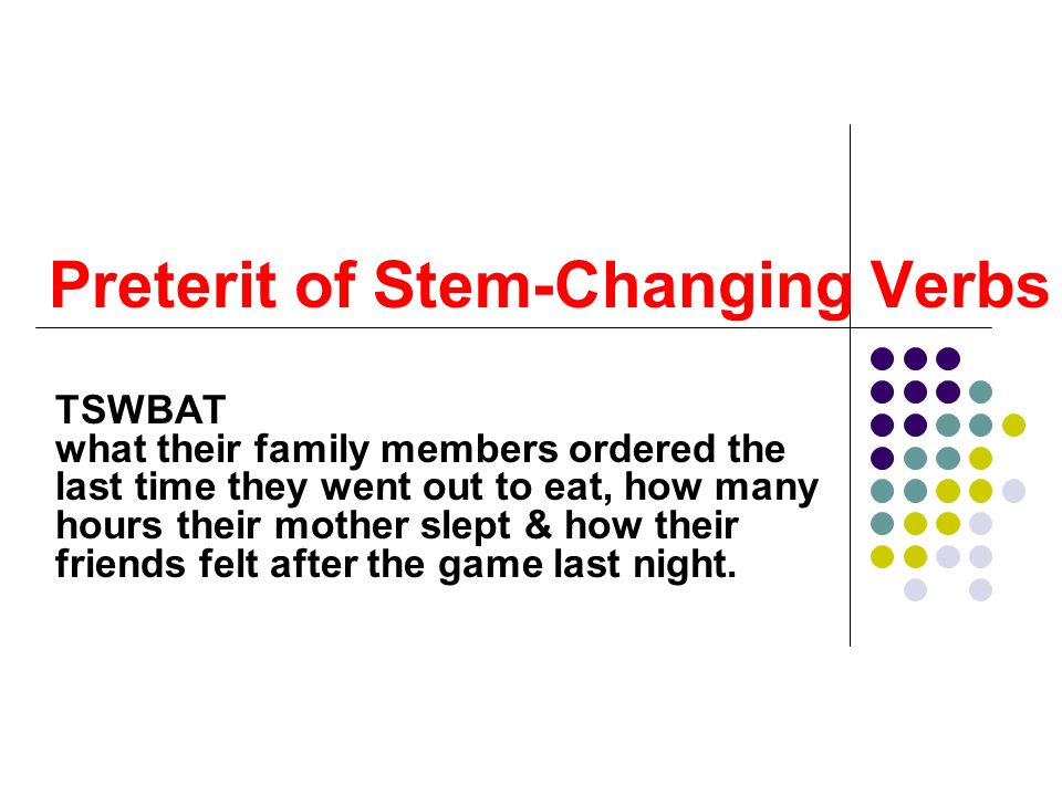 Preterit of Stem-Changing Verbs
