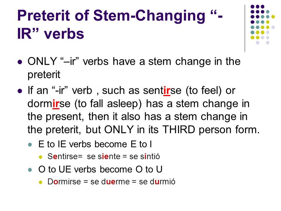 Preterit of Stem-Changing -IR verbs