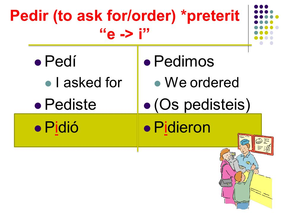 Pedir (to ask for/order) *preterit e -> i