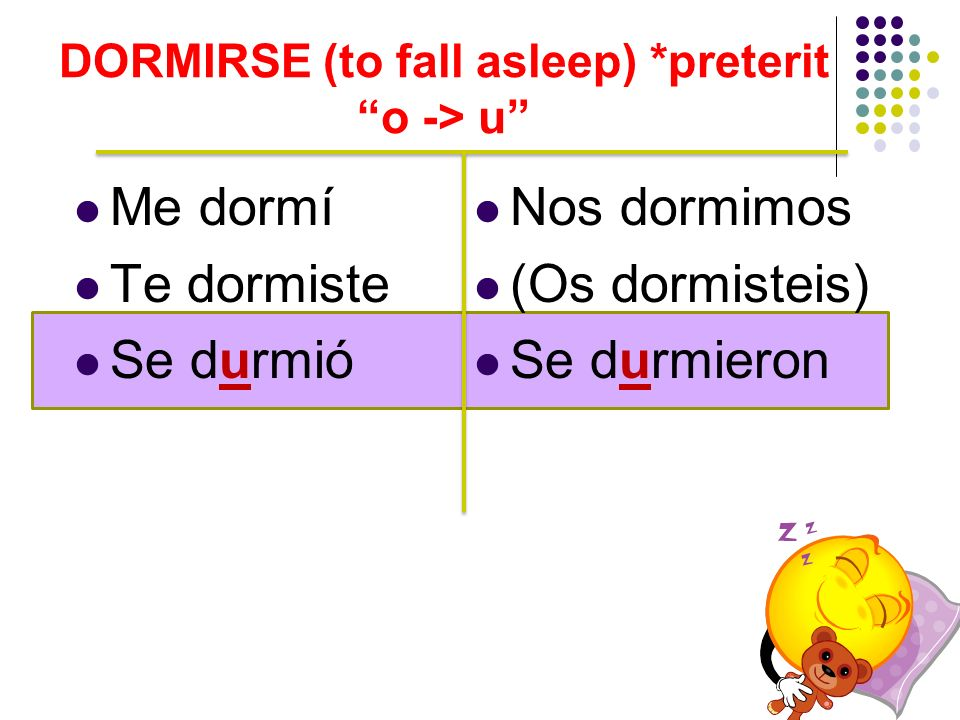 DORMIRSE (to fall asleep) *preterit o -> u