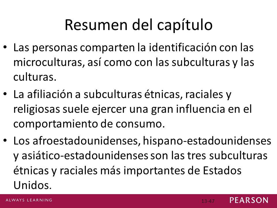 Resumen del capítulo Las personas comparten la identificación con las microculturas, así como con las subculturas y las culturas.