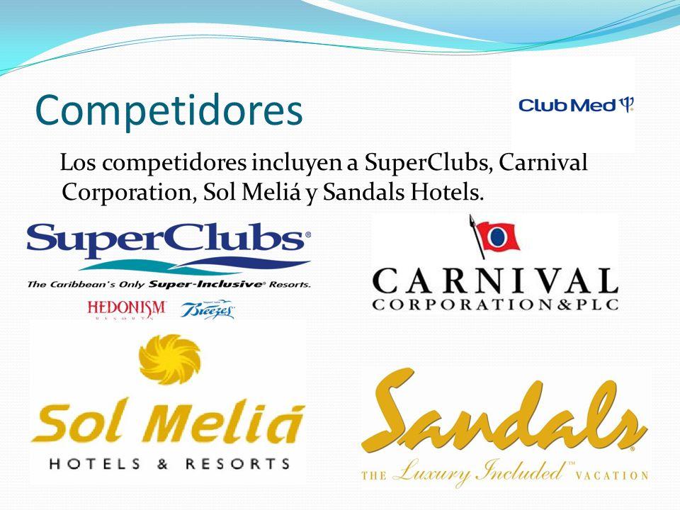 Competidores Los competidores incluyen a SuperClubs, Carnival Corporation, Sol Meliá y Sandals Hotels.
