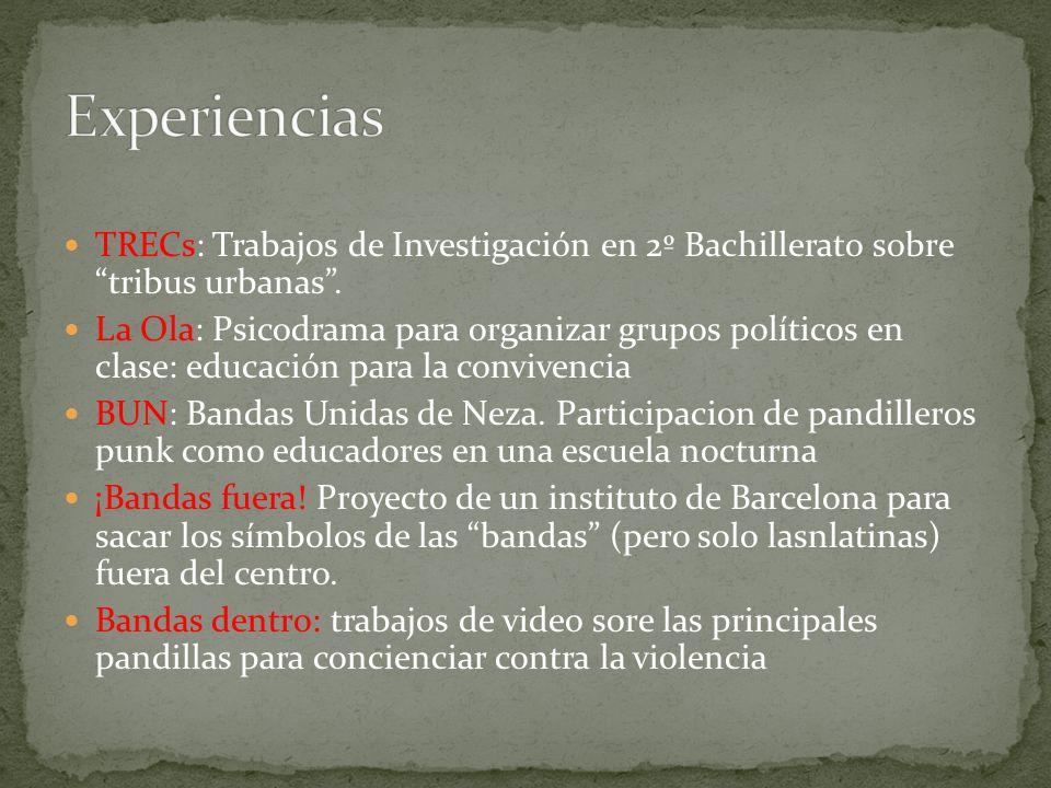 Experiencias TRECs: Trabajos de Investigación en 2º Bachillerato sobre tribus urbanas .
