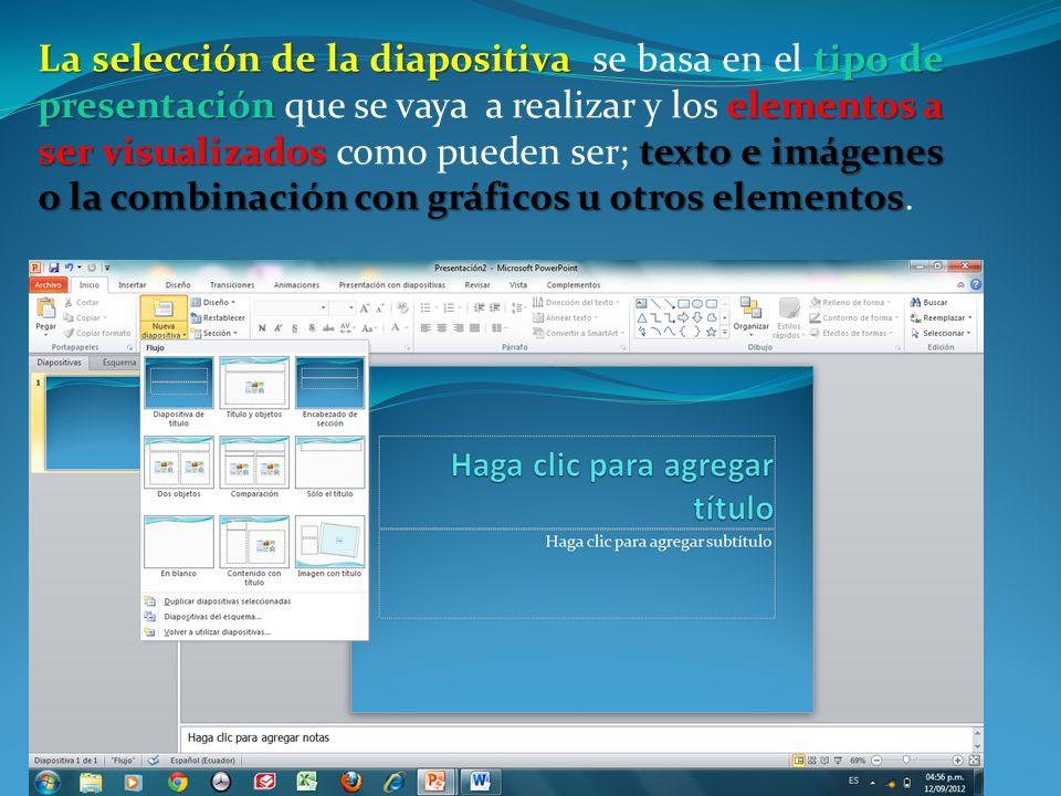 La selección de la diapositiva se basa en el tipo de presentación que se vaya a realizar y los elementos a ser visualizados como pueden ser; texto e imágenes o la combinación con gráficos u otros elementos.
