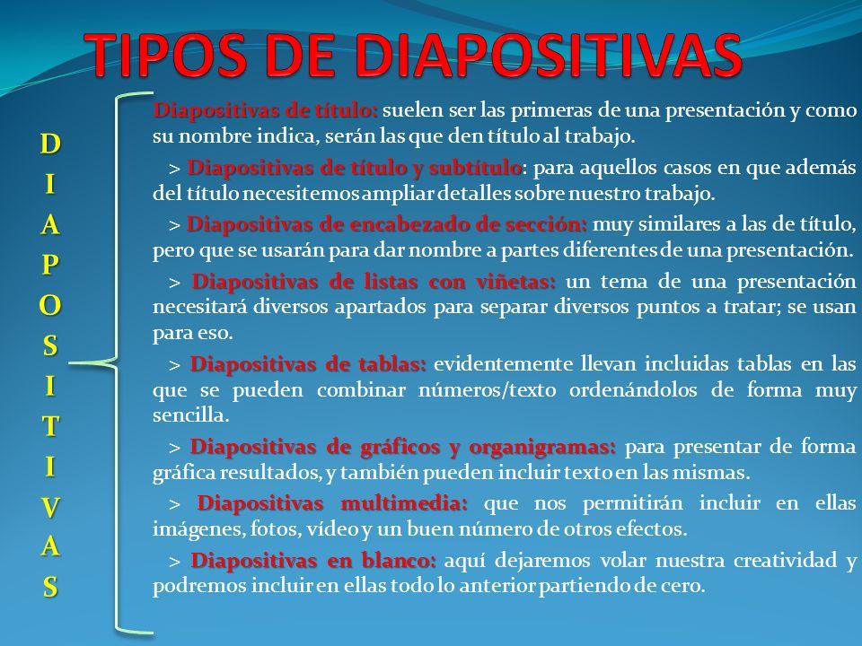 TIPOS DE DIAPOSITIVAS DIAPOSITIVAS