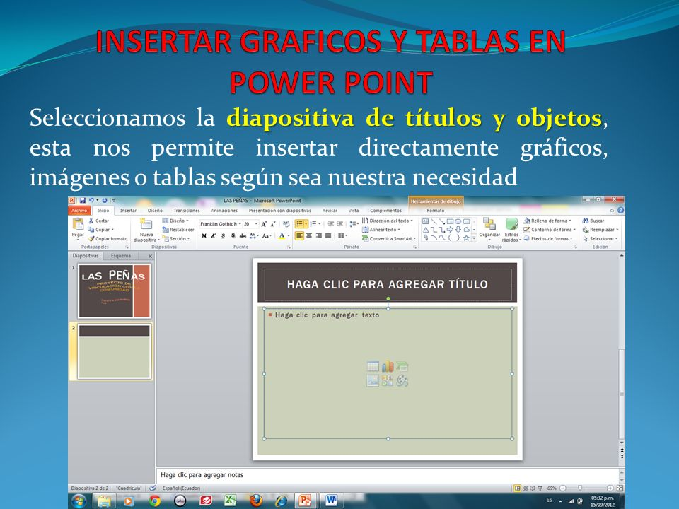 INSERTAR GRAFICOS Y TABLAS EN POWER POINT