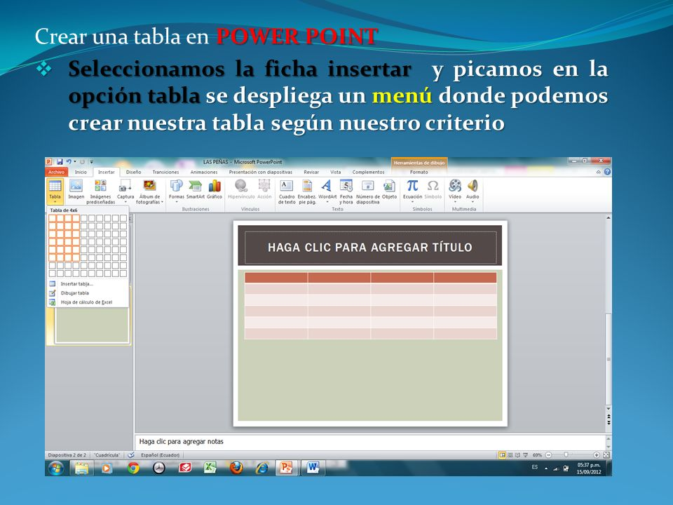 Crear una tabla en POWER POINT