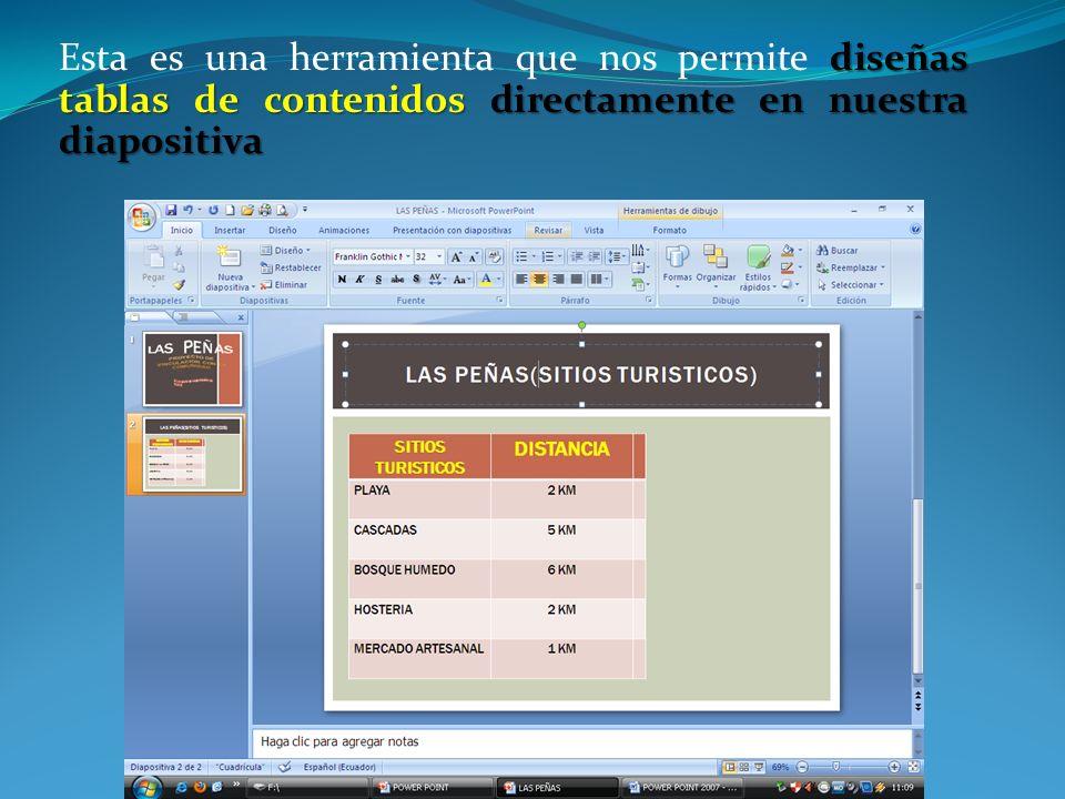 Esta es una herramienta que nos permite diseñas tablas de contenidos directamente en nuestra diapositiva